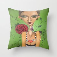 charmaine Throw Pillows featuring Tattooed by Charmaine D'Silva