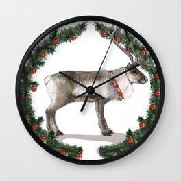 Jolly Holiday Reindeer Wall Clock