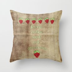 Keep calm and eat strawberries  - Strawberry Typography and Illustration Throw Pillow