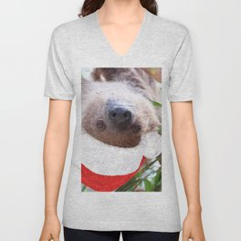 Cute Christmas Sloth Unisex V-Neck