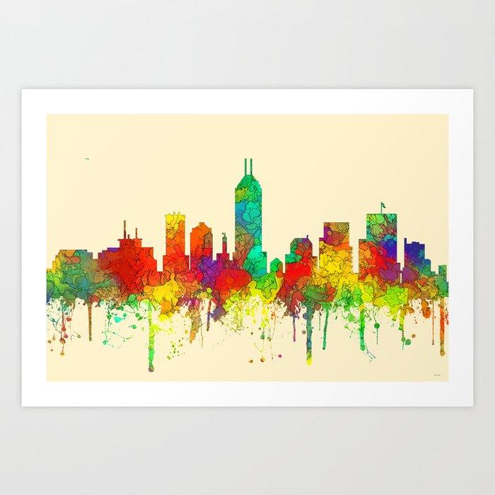 indianapolis indiana skyline sg art print by marlenewatson society6