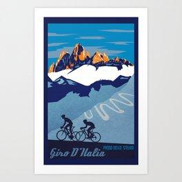 Giro d'Italia Passo Dello Stelvio cycling poster Art Print
