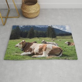 Cows in the Alps Rug