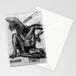 Injection - Charcoal on Newspaper Figure Drawing Stationery Cards