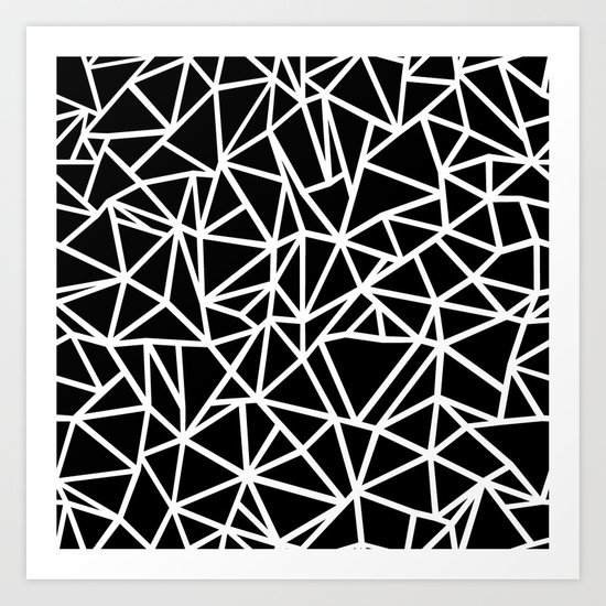 Abstract Outline Thick White on Black Art Print