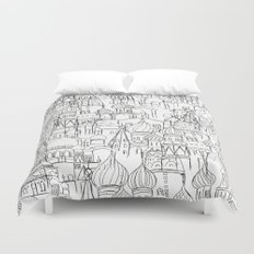Russian cathedral church line drawing Duvet Cover