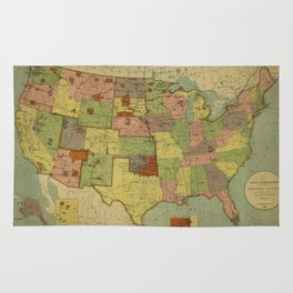 Map of Indian Reservations 1902 Rug