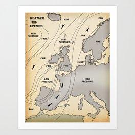 British Isles vintage weather map poster Art Print