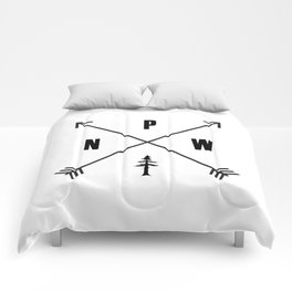 PNW Pacific Northwest Compass - Black on White Minimal Comforters