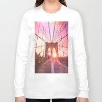 brooklyn bridge Long Sleeve T-shirts featuring Brooklyn Bridge  by Vivienne Gucwa