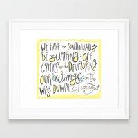 kurt vonnegut Framed Art Prints featuring jumping off cliffs - kurt vonnegut quote by Shaina Anderson