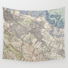 Old Map of Palo Alto & Silicon Valley CA (1943) Wall Tapestry