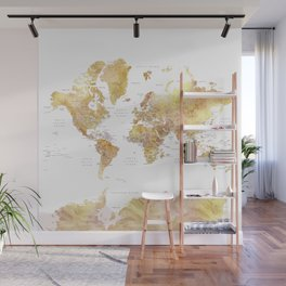 Gold and brown watercolor world map Wall Mural
