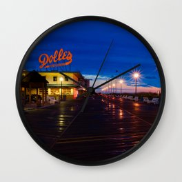 Early Morning at Dolles Coastal Landscape Photograph - Boardwalk Artwork Wall Clock