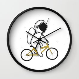 Funny Astronaut Rides on Bicycle Wall Clock