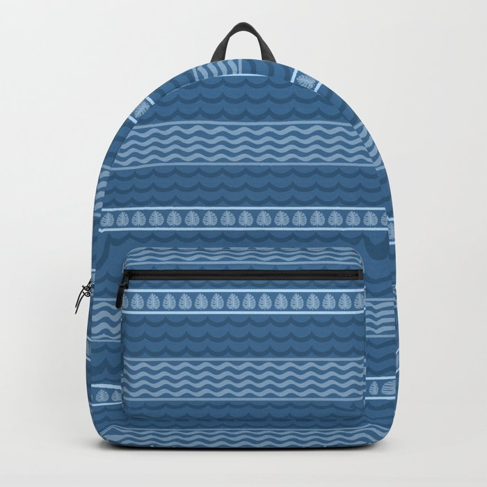 Ocean Waves Stripes and Palm Fronds Backpack