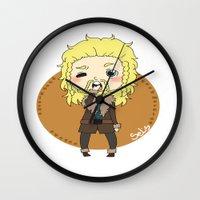 fili Wall Clocks featuring Fili the hobbit by Selis Starlight