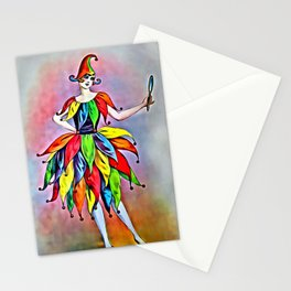 ART DECO LADY IN HARLEQUIN Stationery Cards