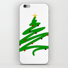 Minimalist Green Christmas Tree Doodle with Ornaments and Star iPhone Skin