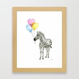 Zebra Watercolor With Heart Shaped Balloons Framed Art Print