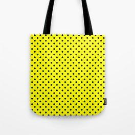 Polka dots Black dots over yellow Tote Bag