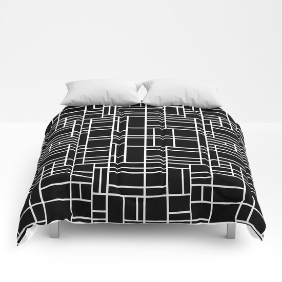 Map Outline White on Black  Comforters