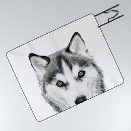 Siberian Husky dog with two eye color Dog illustration original painting print Picnic Blanket