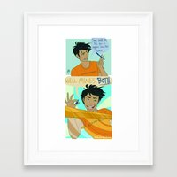 percy jackson Framed Art Prints featuring Percy Jackson - Mightier by BBANDITT