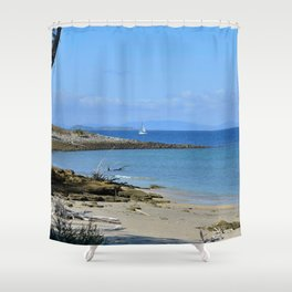 Lonely sailboat. Shower Curtain