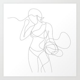 Woman with Basketball Art Print