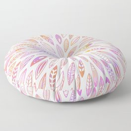 Pink Leaves, Feathers, Seashells, Wings and Seeds Floor Pillow