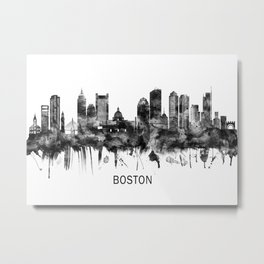 Boston Massachusetts Skyline BW Metal Print