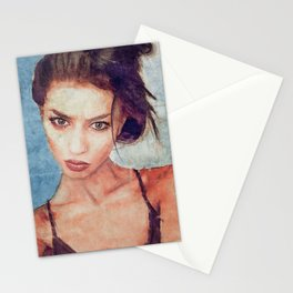 Portrait Of Young Woman With Large Eyes Stationery Cards