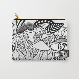 Mushrooms outline black and white drawing Carry-All Pouch