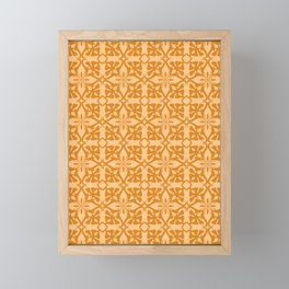 Ethnic tile pattern orange Framed Mini Art Print