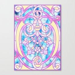 Art Nouveau Blue Pink and Yellow Batik Design Canvas Print
