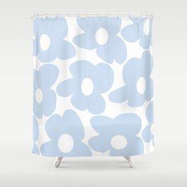 Large Baby Blue Retro Flowers White Background #decor #society6 #buyart Shower Curtain