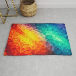 Abstract Polygon Multi Color Cubism Low Poly Triangle Design Rug
