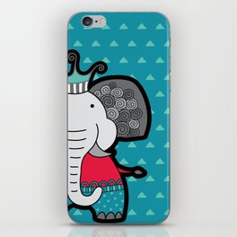 Doodle Elephant on Blue Background iPhone Skin
