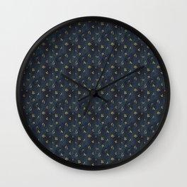 indigo and olive green Wall Clock