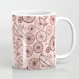 Monochroem Vintage Biycles On Coral Pink Coffee Mug