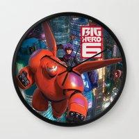 big hero 6 Wall Clocks featuring Big Hero 6  by store2u