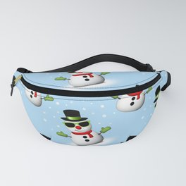 Cool Snowman with Shades and Adorable Smirk Fanny Pack