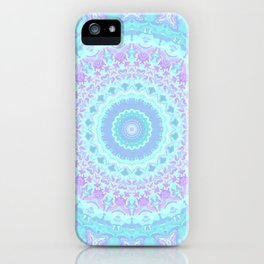 Cyan, Turquoise, and Purple Kaleidoscope iPhone Case