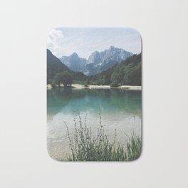 Panoramic view of lake and Majestic Mountain Bath Mat