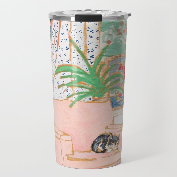 Catnap - Tuxedo Cat Napping in Chair by the Window Travel Mug