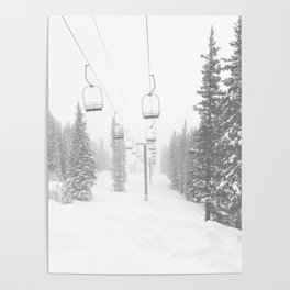 Empty Chairlift // Alone on the Mountain at Copper Whiteout Conditions Foggy Snowfall Poster