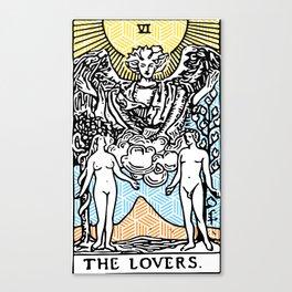 Geometric Tarot Print - The Lovers Canvas Print