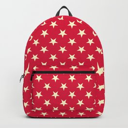 Cream Yellow on Crimson Red Stars Backpack