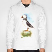 puffin Hoodies featuring Puffin on a Rock by Goosi